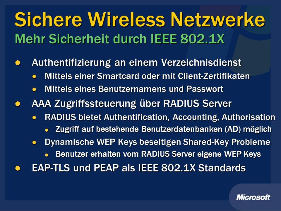 Sichere Wireless Netzwerke Mehr Sicherheit durch IEEE 802.1X
