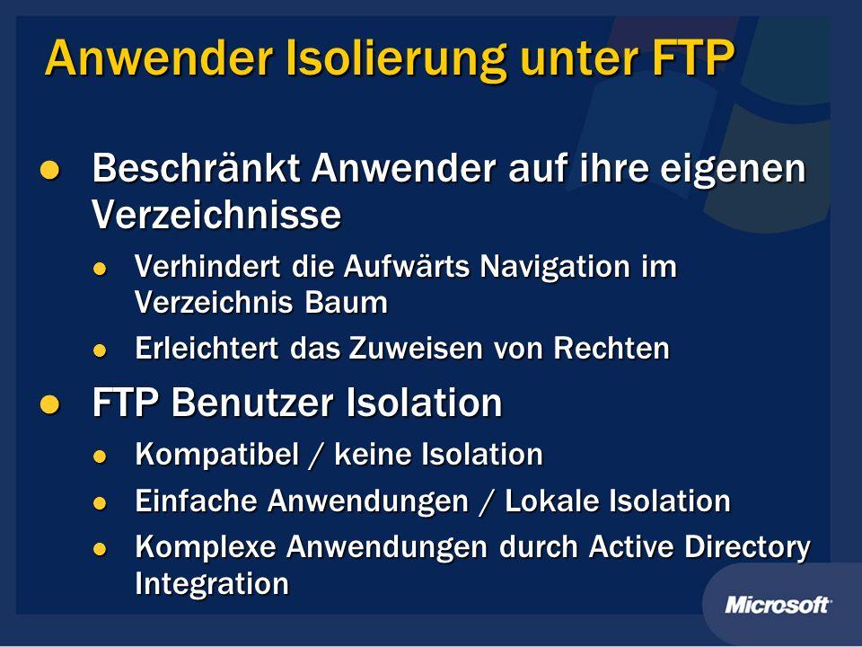 Anwender Isolierung unter FTP