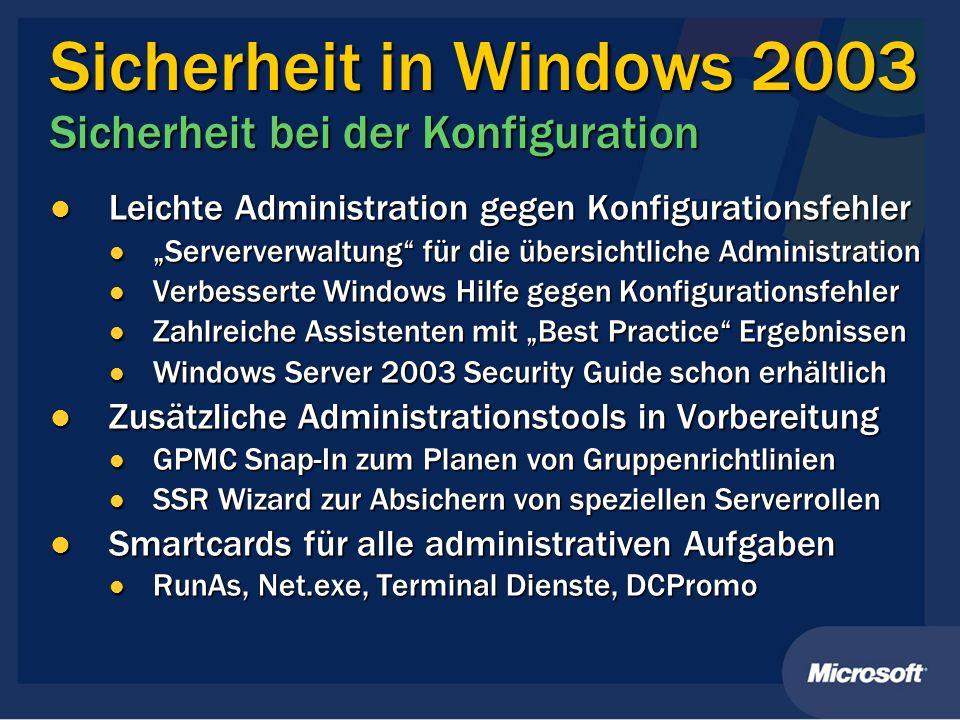 Sicherheit in Windows 2003 Sicherheit bei der Konfiguration