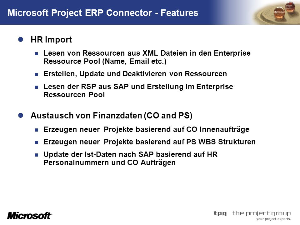 Microsoft Project ERP Connector - Features