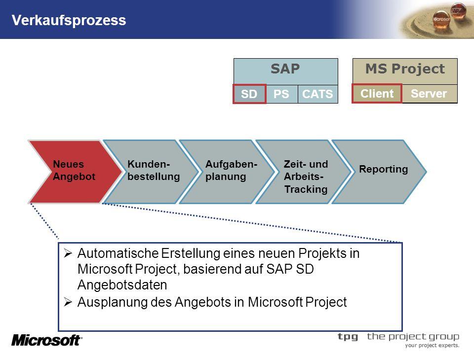 Verkaufsprozess SAP MS Project