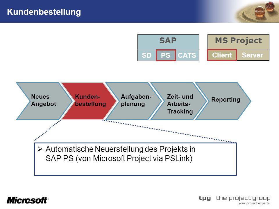 Kundenbestellung SAP MS Project