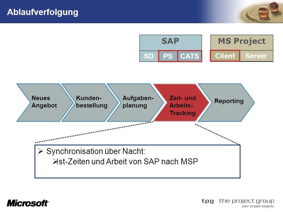 Ablaufverfolgung SAP MS Project Synchronisation über Nacht: