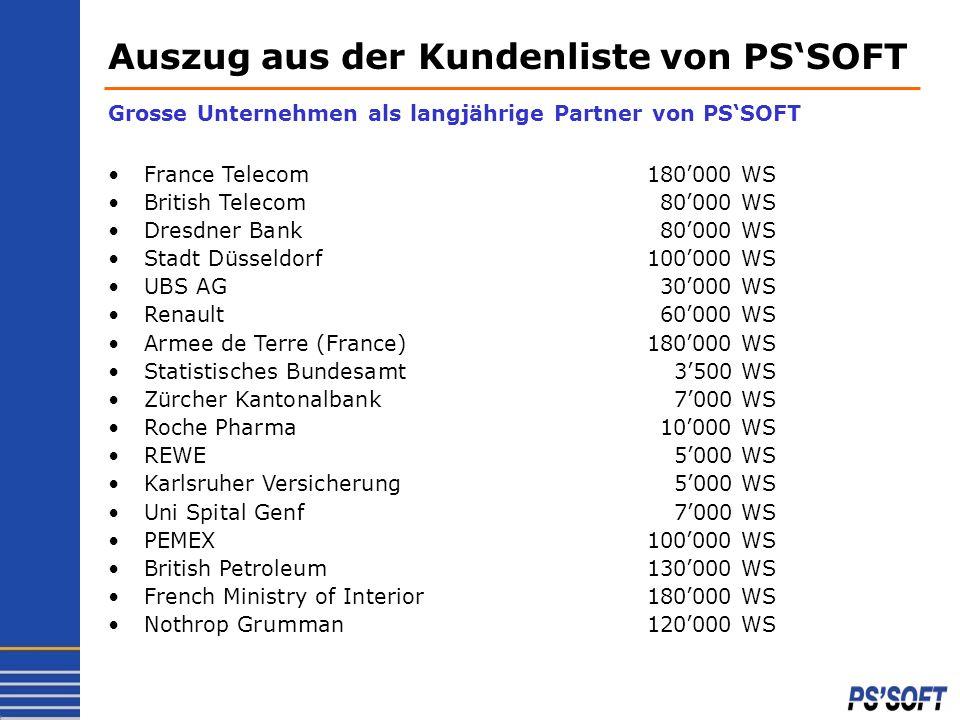 Auszug aus der Kundenliste von PS'SOFT