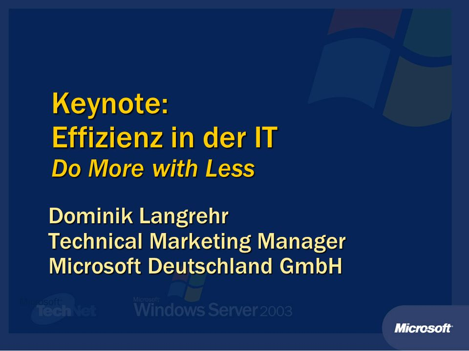 Keynote: Effizienz in der IT Do More with Less