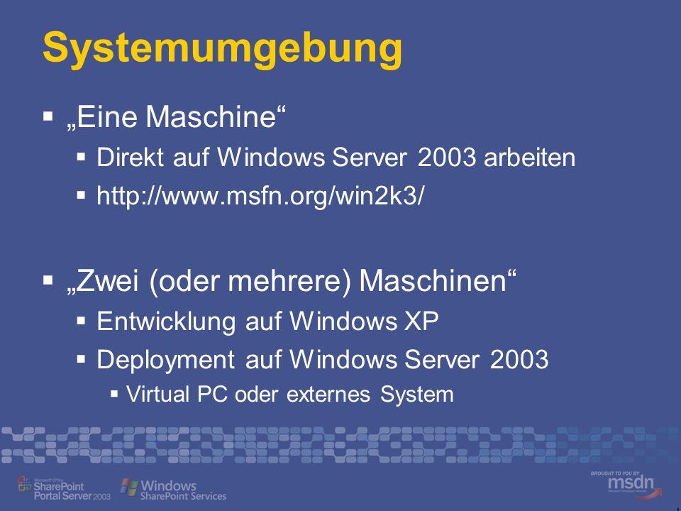 """Systemumgebung """"Eine Maschine """"Zwei (oder mehrere) Maschinen"""