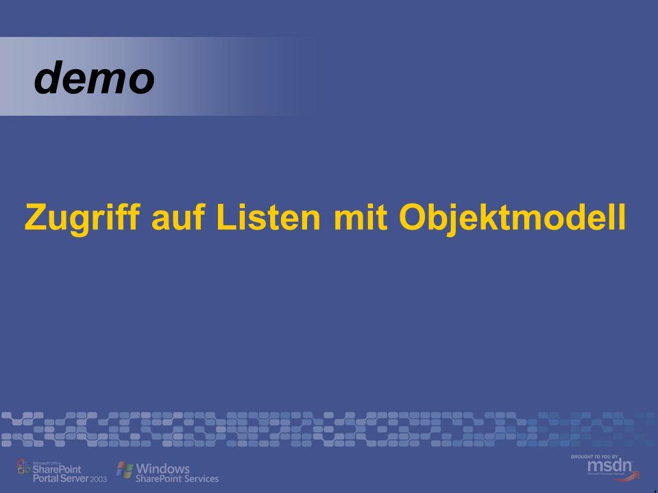 Zugriff auf Listen mit Objektmodell