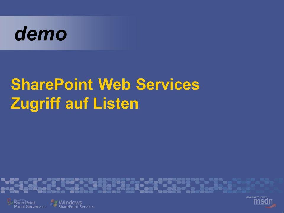 SharePoint Web Services Zugriff auf Listen
