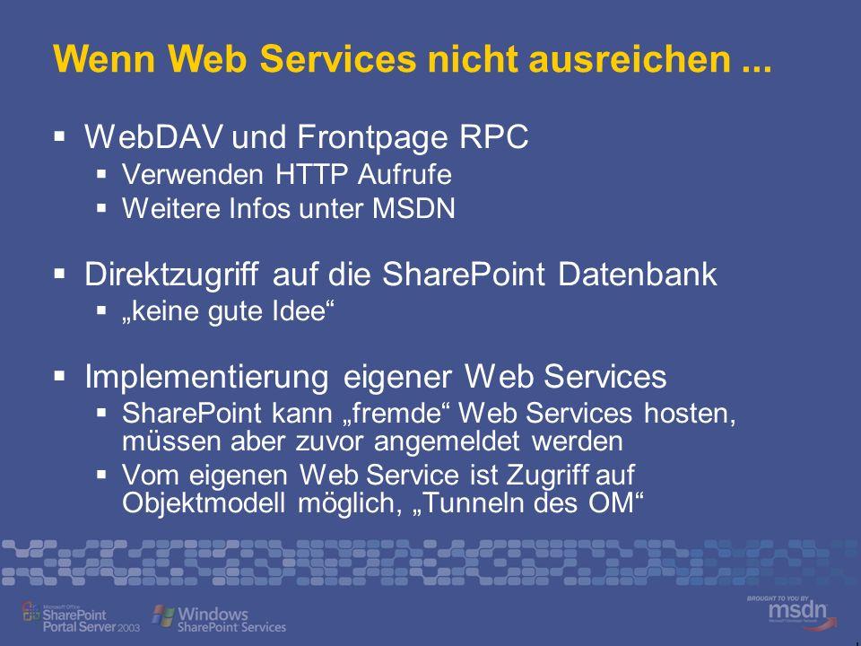 Wenn Web Services nicht ausreichen ...