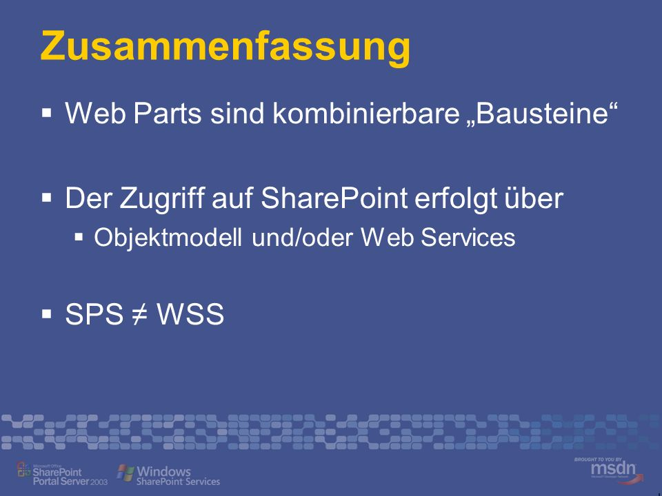 """Zusammenfassung Web Parts sind kombinierbare """"Bausteine"""