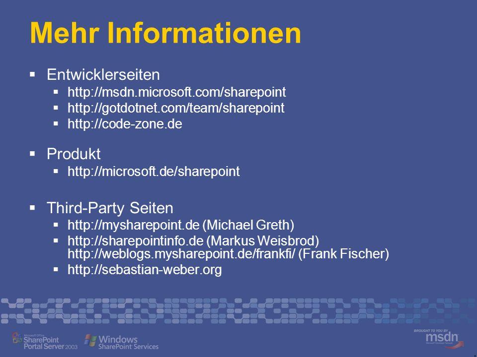 Mehr Informationen Entwicklerseiten Produkt Third-Party Seiten