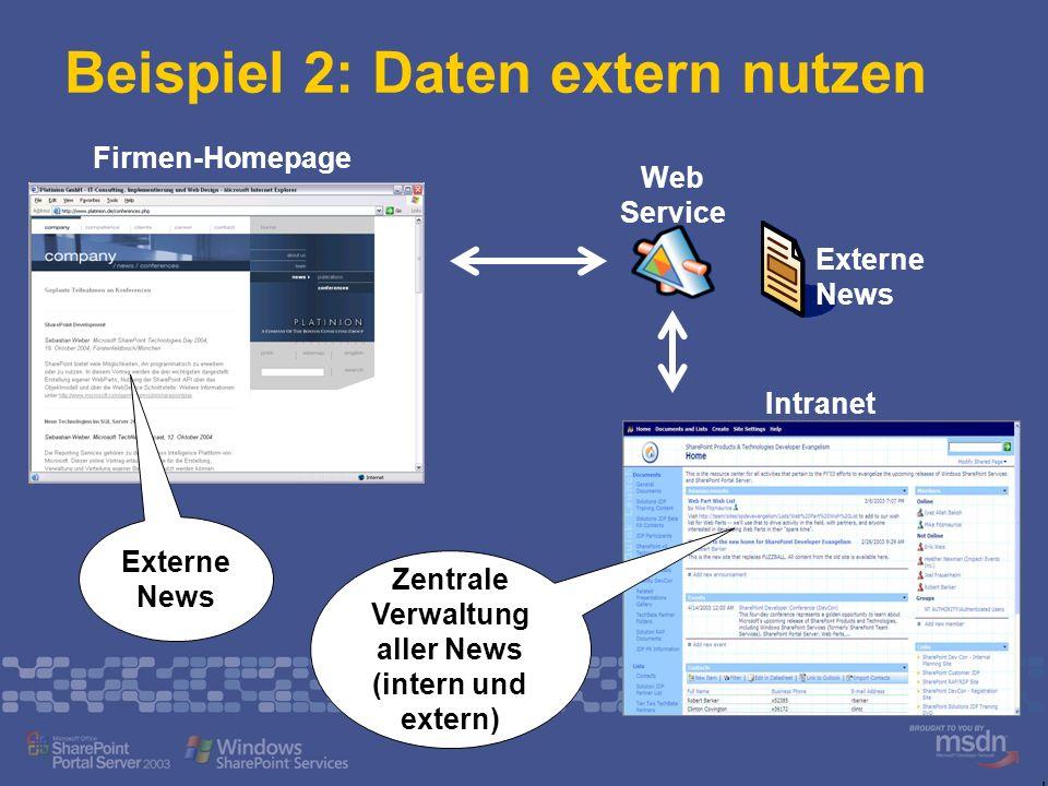 Beispiel 2: Daten extern nutzen