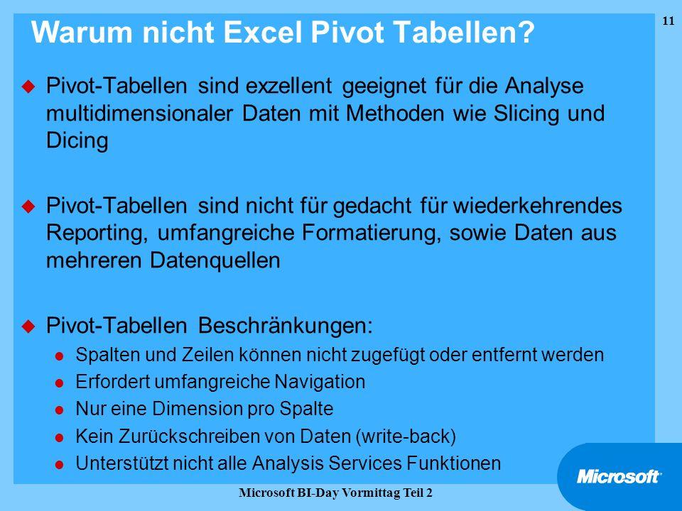 Warum nicht Excel Pivot Tabellen