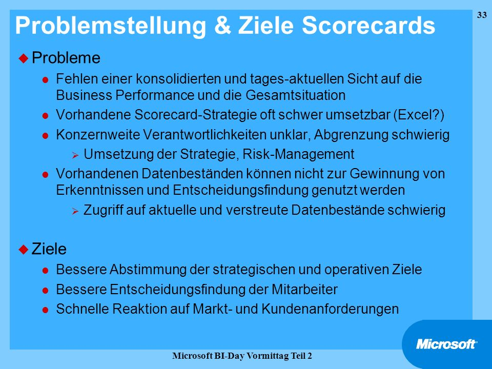 Problemstellung & Ziele Scorecards
