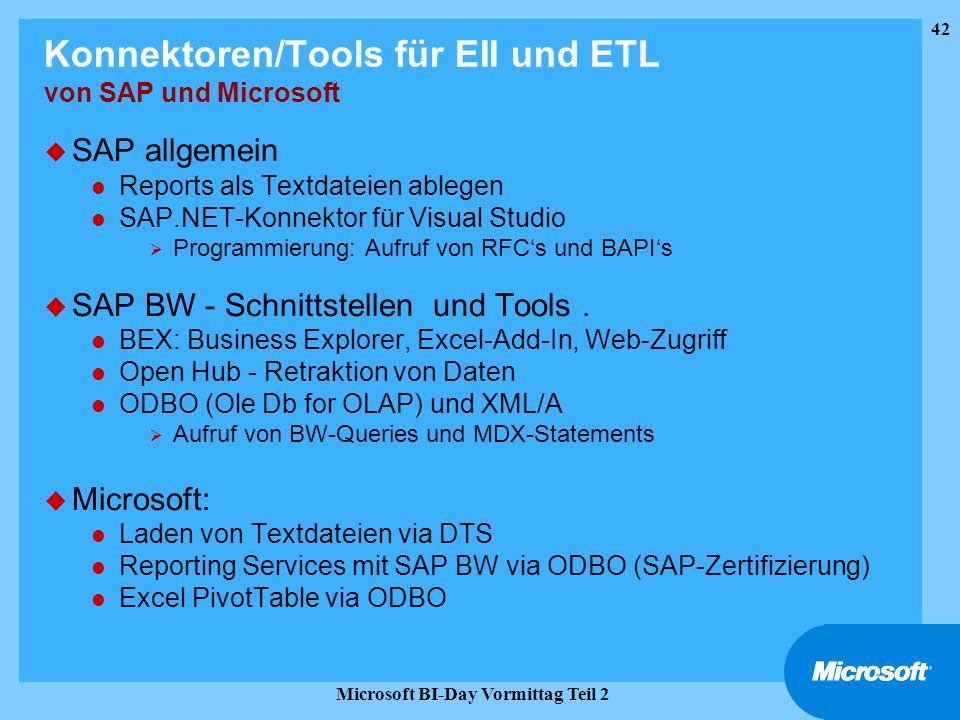 Konnektoren/Tools für EII und ETL von SAP und Microsoft