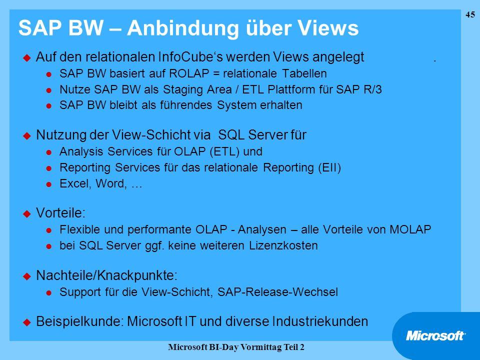 SAP BW – Anbindung über Views