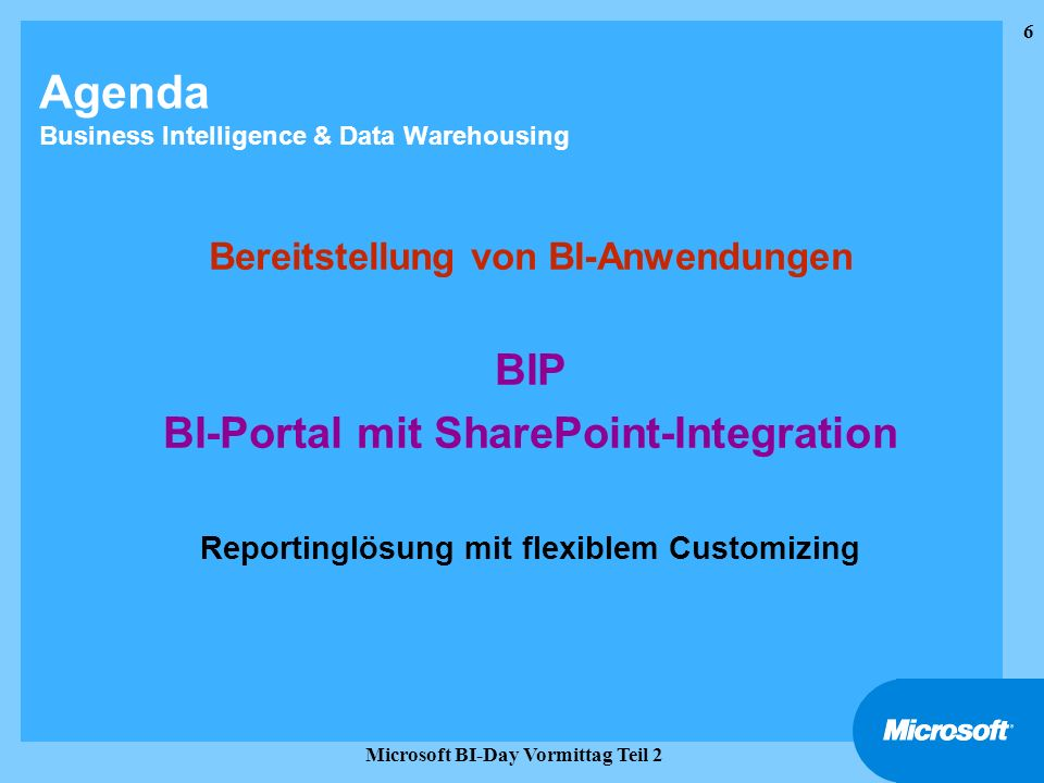 Agenda Business Intelligence & Data Warehousing