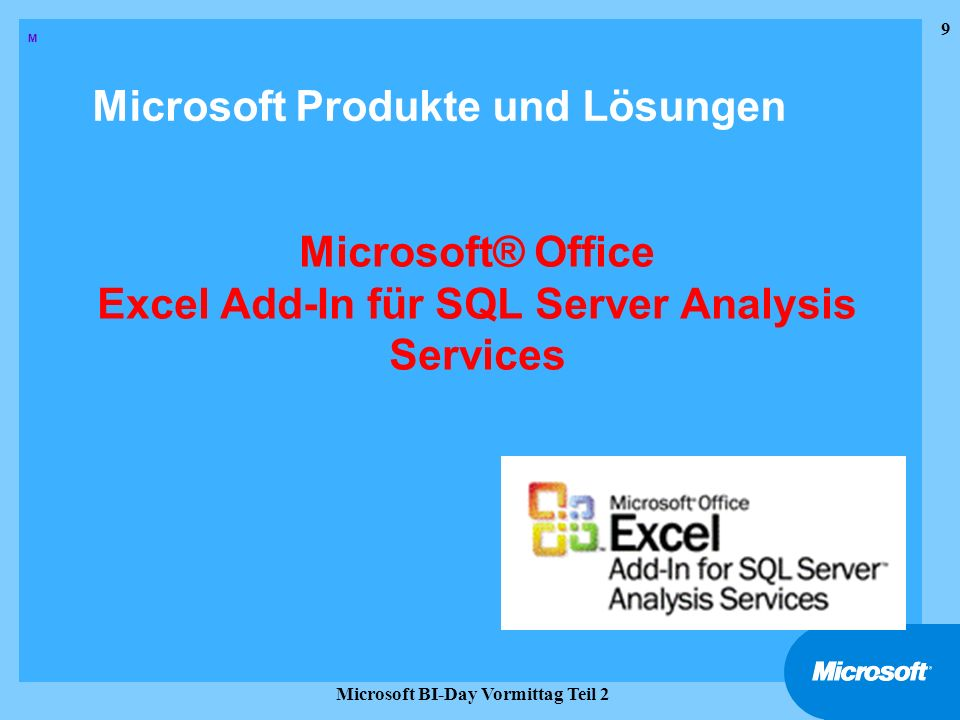 Microsoft® Office Excel Add-In für SQL Server Analysis Services