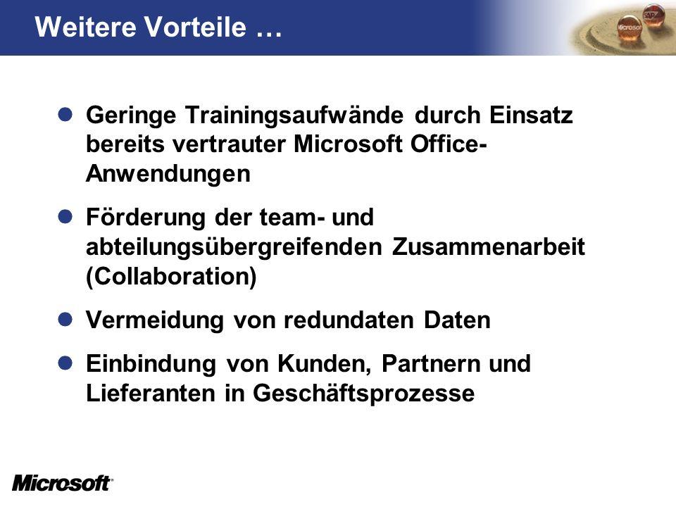 Weitere Vorteile … Geringe Trainingsaufwände durch Einsatz bereits vertrauter Microsoft Office-Anwendungen.