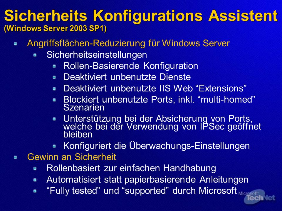 Sicherheits Konfigurations Assistent (Windows Server 2003 SP1)