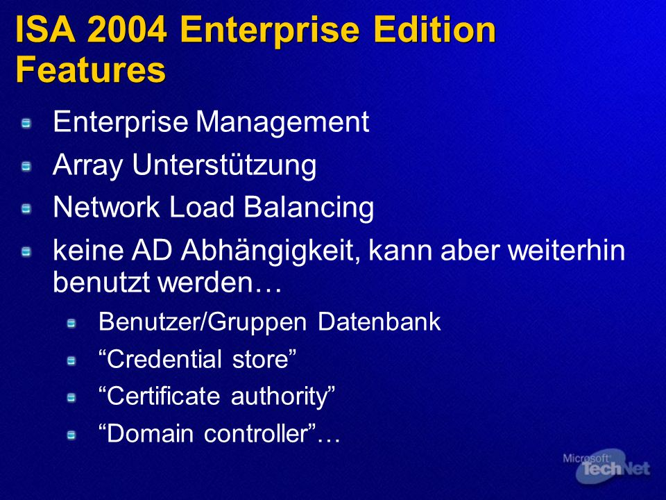 ISA 2004 Enterprise Edition Features