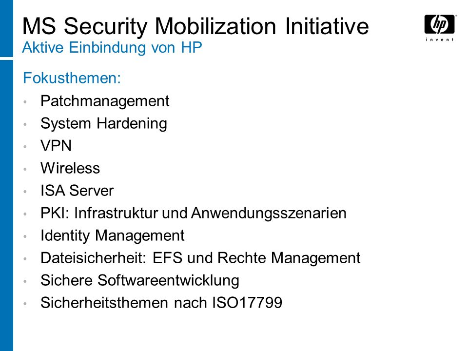MS Security Mobilization Initiative Aktive Einbindung von HP