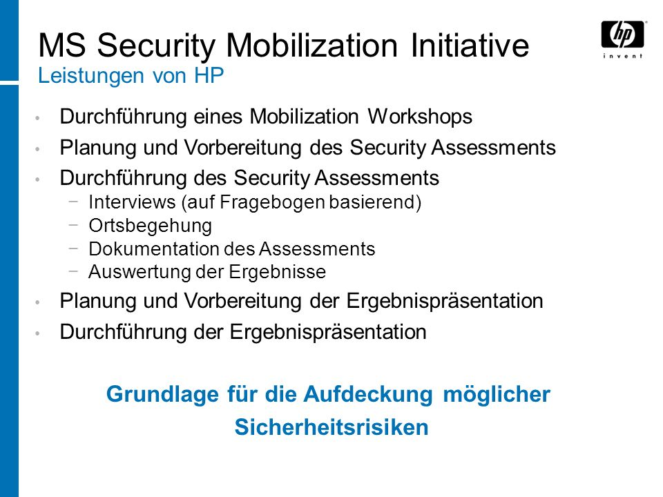MS Security Mobilization Initiative Leistungen von HP