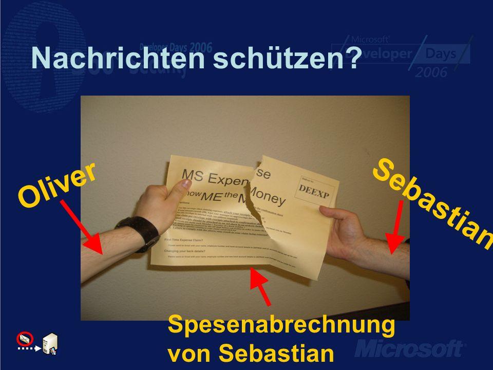 Nachrichten schützen Oliver Sebastian Spesenabrechnung von Sebastian