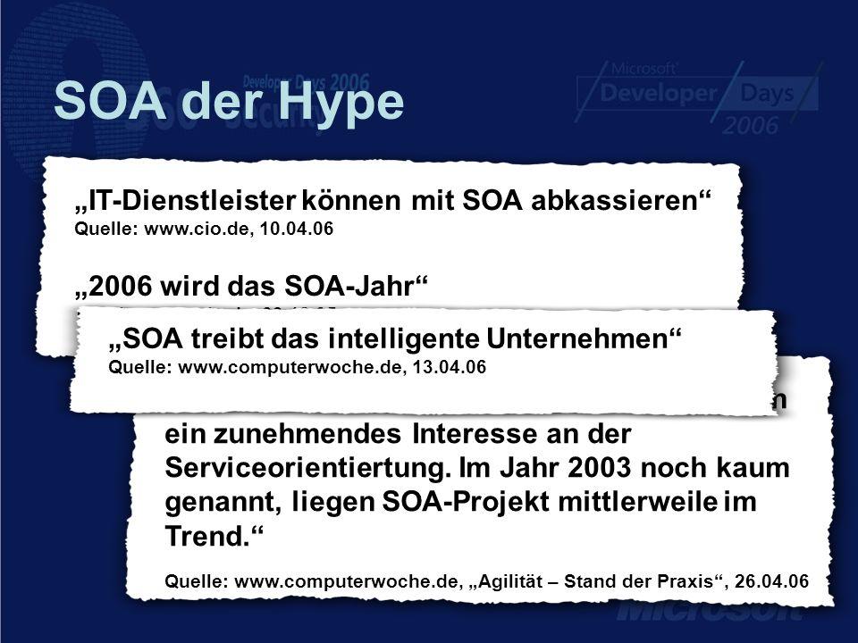 """SOA der Hype """"IT-Dienstleister können mit SOA abkassieren Quelle: www.cio.de, 10.04.06 """"2006 wird das SOA-Jahr Quelle: www.cio.de, 03.12.05."""