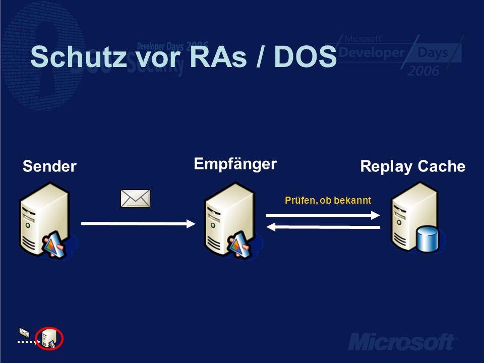 Schutz vor RAs / DOS Sender Empfänger Replay Cache Prüfen, ob bekannt