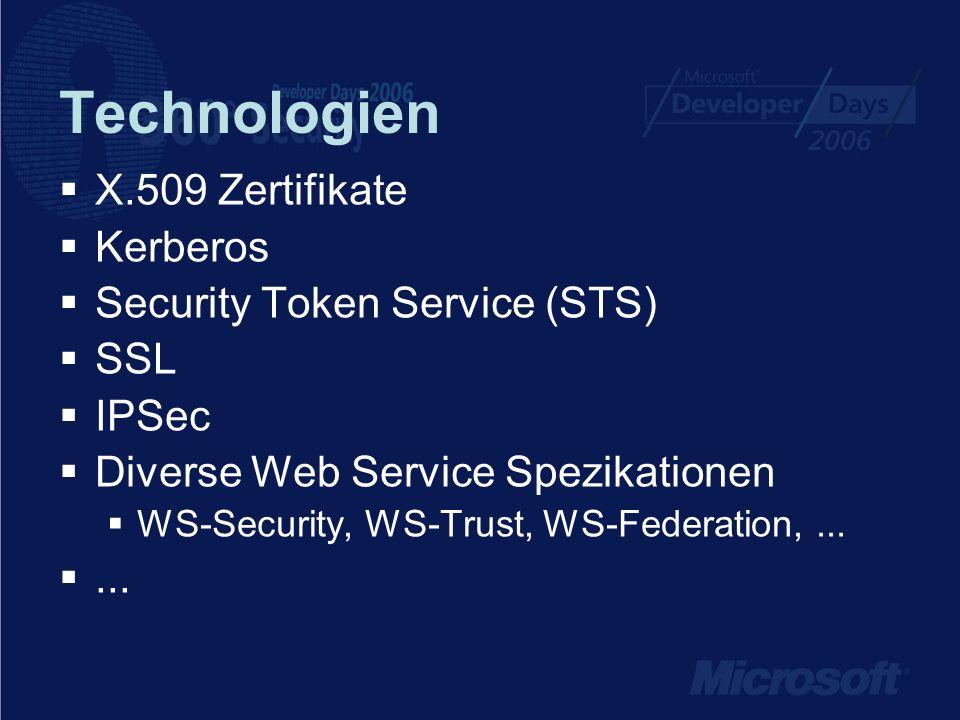 Technologien X.509 Zertifikate Kerberos Security Token Service (STS)