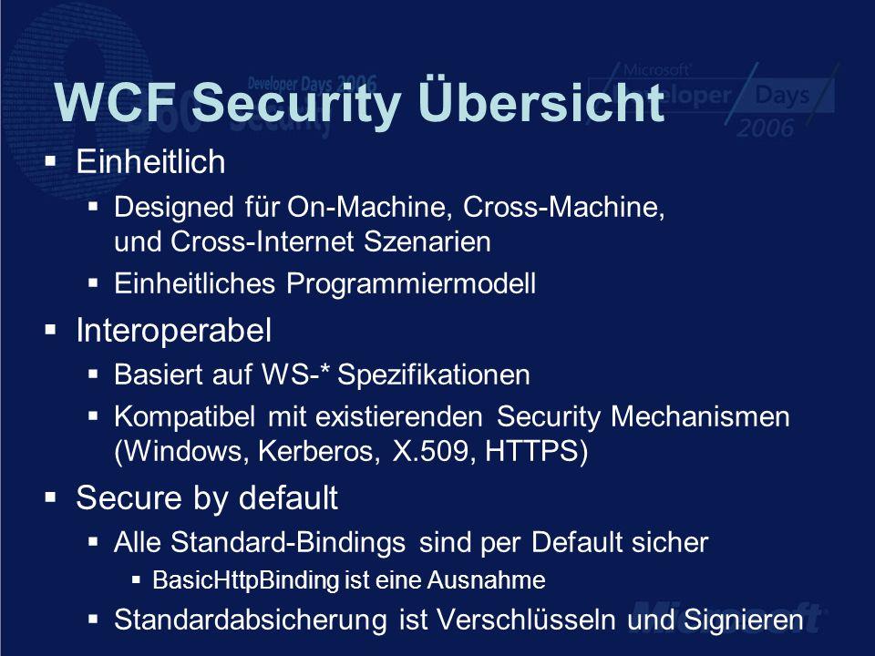 WCF Security Übersicht