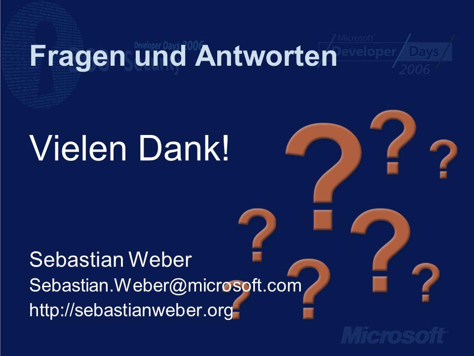 Vielen Dank! Fragen und Antworten Sebastian Weber