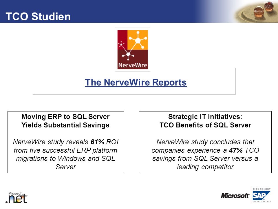 TCO Studien The NerveWire Reports Moving ERP to SQL Server