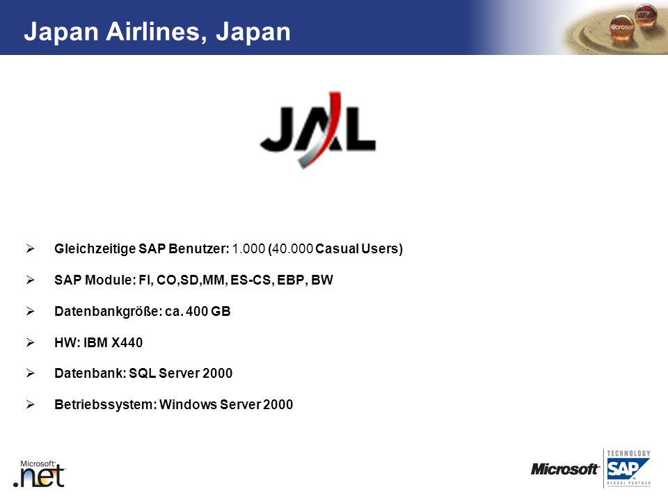 Japan Airlines, JapanGleichzeitige SAP Benutzer: 1.000 (40.000 Casual Users) SAP Module: FI, CO,SD,MM, ES-CS, EBP, BW.