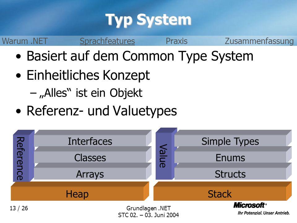 Typ System Basiert auf dem Common Type System Einheitliches Konzept