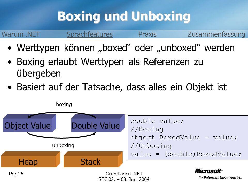 """Boxing und Unboxing Werttypen können """"boxed oder """"unboxed werden"""