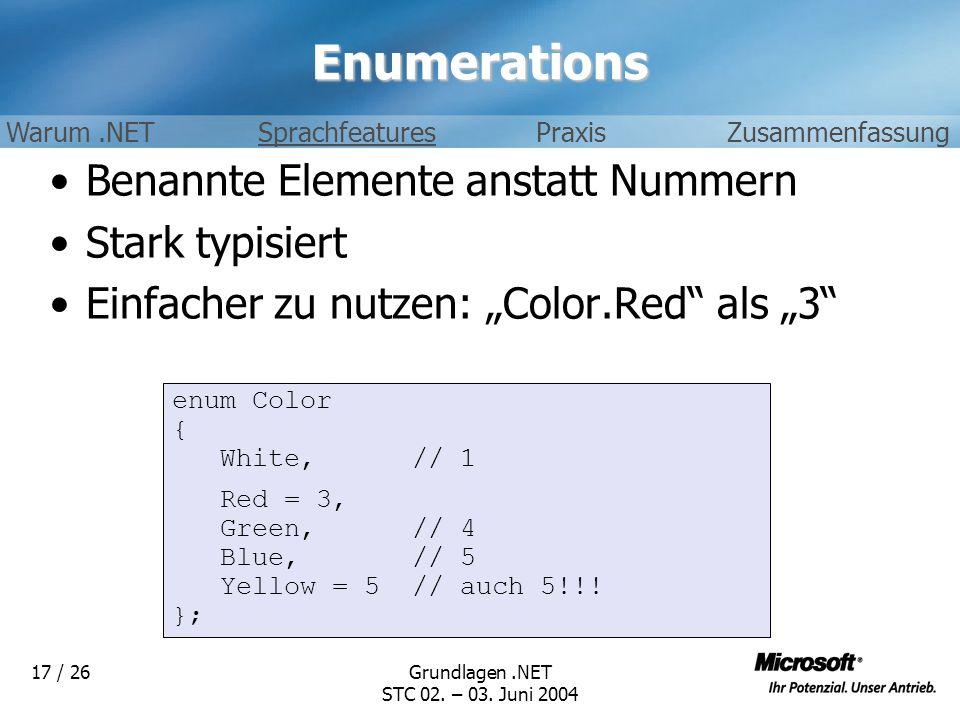 Enumerations Benannte Elemente anstatt Nummern Stark typisiert