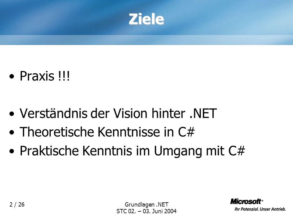 Ziele Praxis !!! Verständnis der Vision hinter .NET