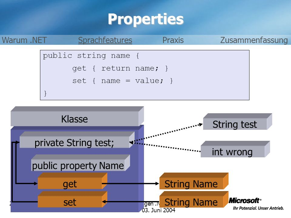 Properties Klasse String test private String test; int wrong