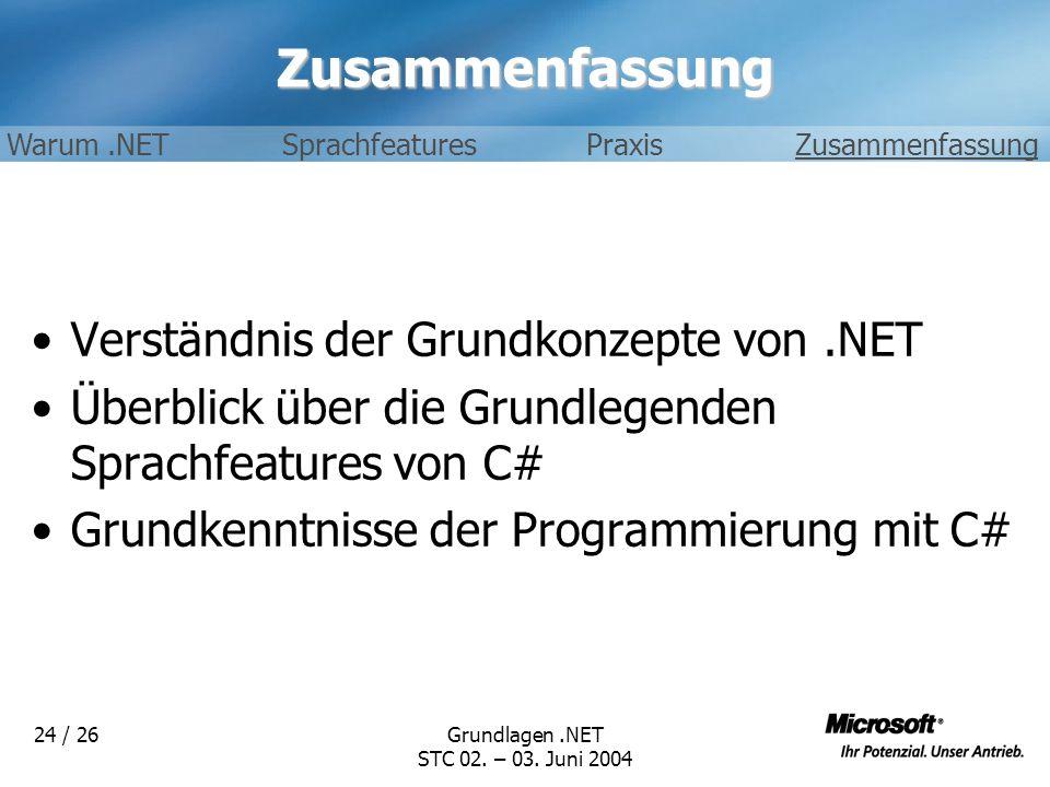 Zusammenfassung Verständnis der Grundkonzepte von .NET