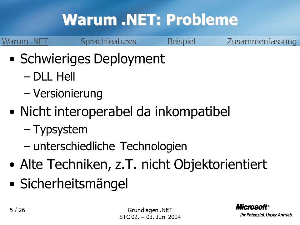 Warum .NET: Probleme Schwieriges Deployment
