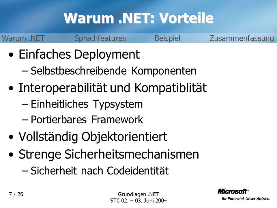 Warum .NET: Vorteile Einfaches Deployment