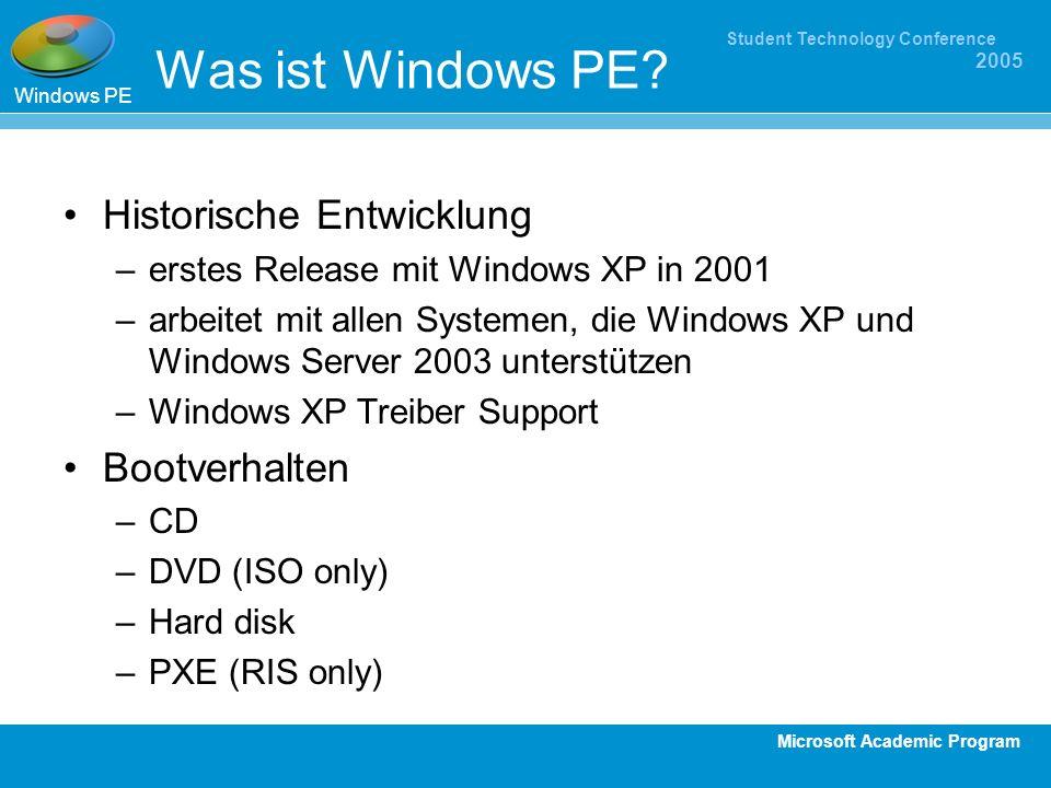 Was ist Windows PE Historische Entwicklung Bootverhalten