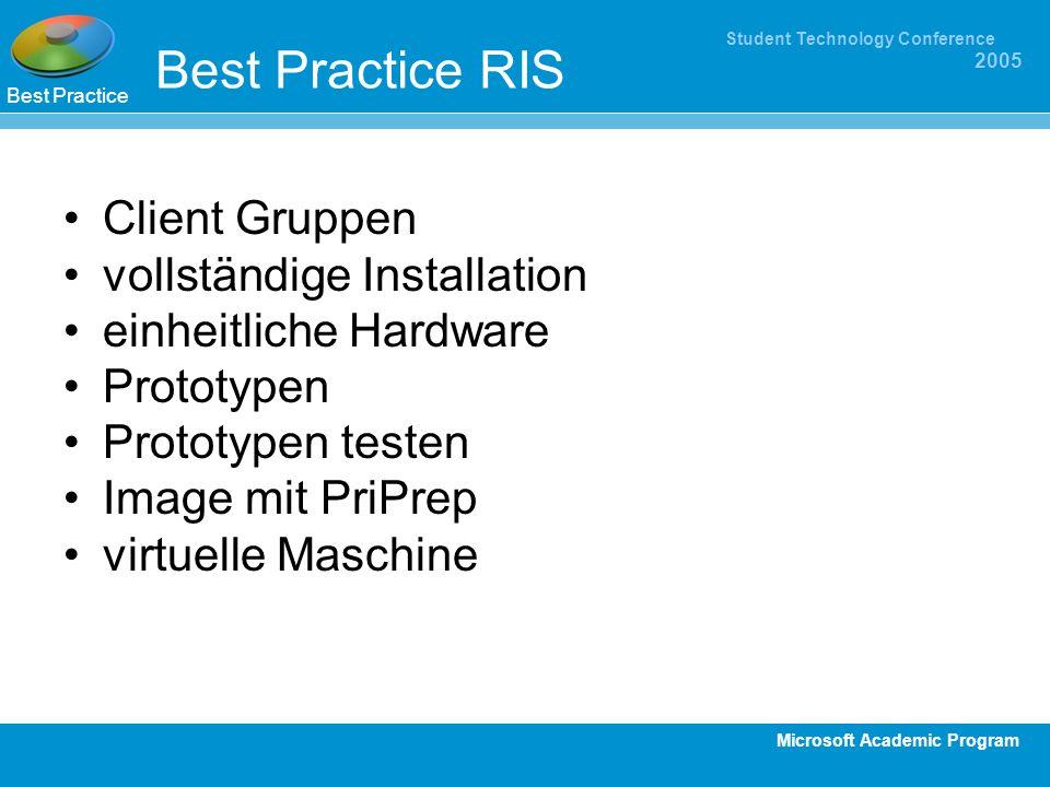 Best Practice RIS Client Gruppen vollständige Installation