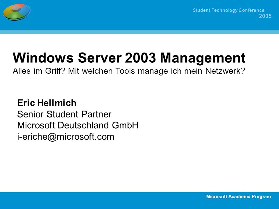 Windows Server 2003 Management Alles im Griff