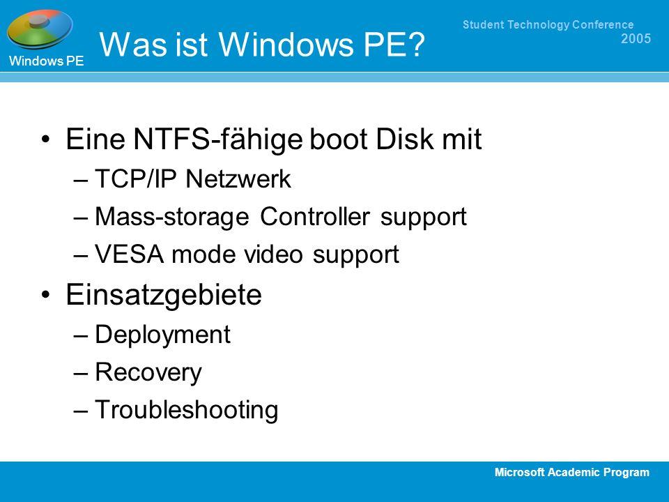 Was ist Windows PE Eine NTFS-fähige boot Disk mit Einsatzgebiete