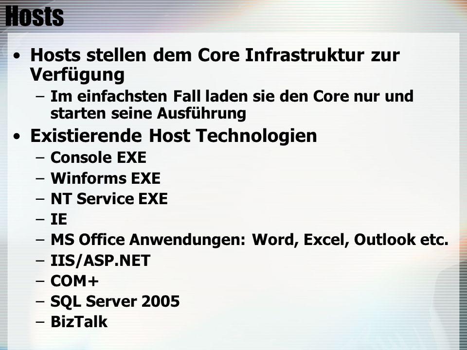 Hosts Hosts stellen dem Core Infrastruktur zur Verfügung