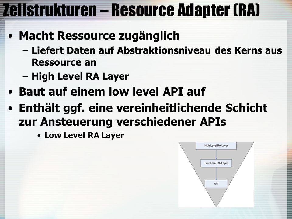 Zellstrukturen – Resource Adapter (RA)