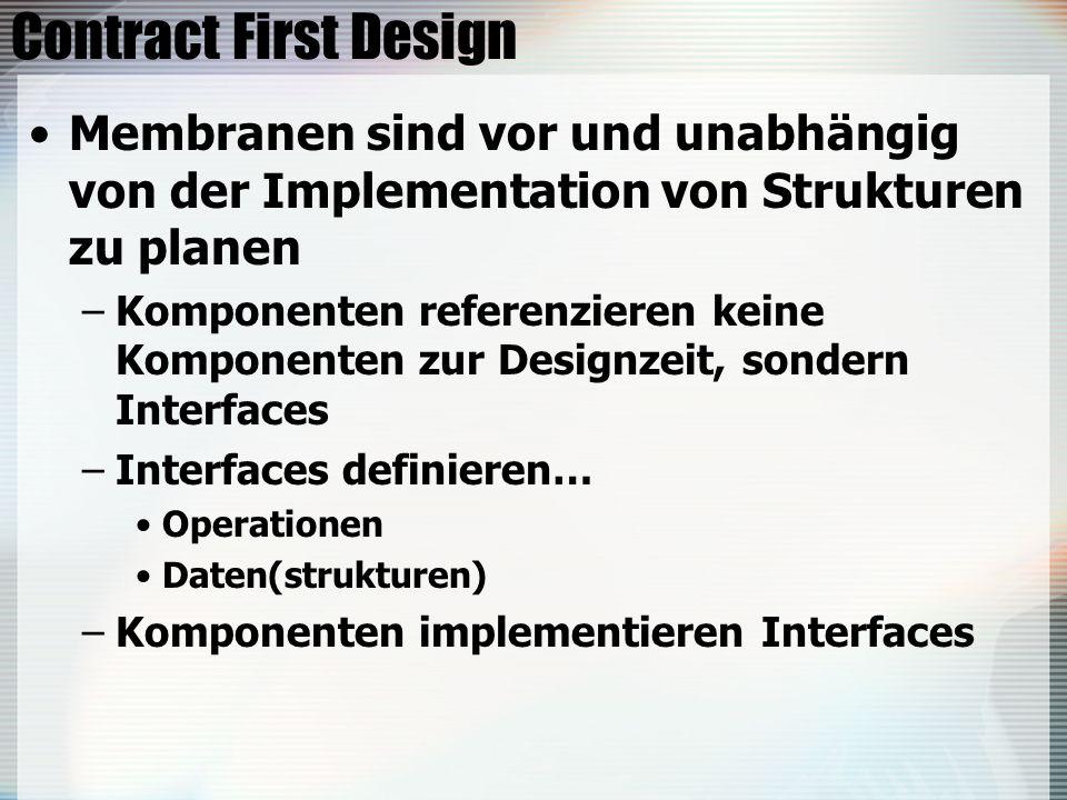 Contract First Design Membranen sind vor und unabhängig von der Implementation von Strukturen zu planen.